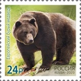 № 2717. In the framework of a joint issue of the Russian Federation and the Republic of Korea, stamps dedicated to national representatives of fauna. European brown bear
